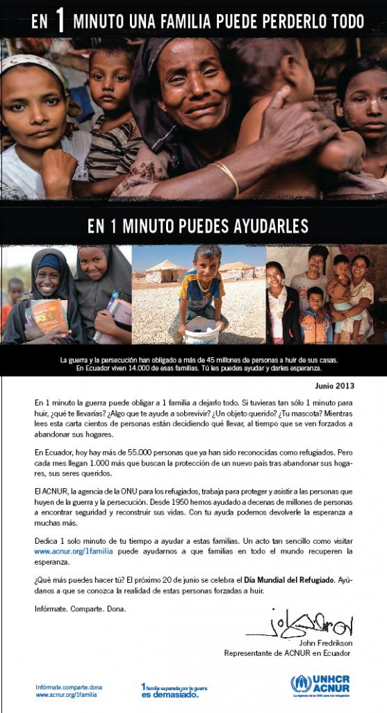 Afiche de la campaña por el Día del Refugiado de ACNUR.