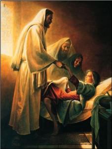Representación de Jesús y la sanación.