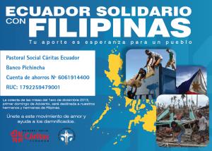 Cáritas Ecuador inicia su campaña de apoyo a Filipinas.
