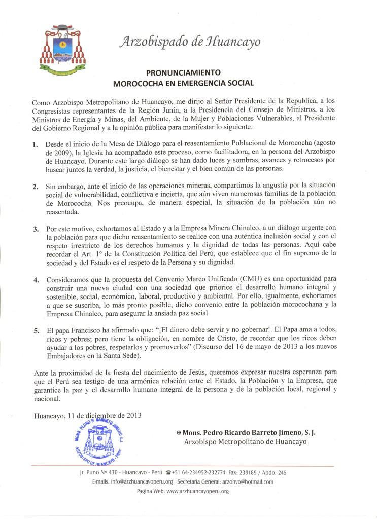 PRONUNCIAMIENTO MOROCOCHA EN EMERGENCIA SOCIAL
