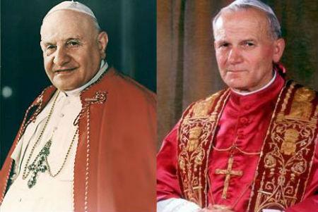 Juan XXIII y Juan Pablo II.