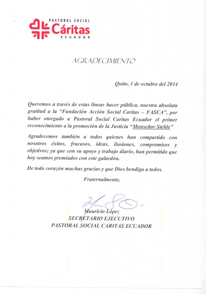 Agradecimiento por parte   del Secretario Ejecutivo Mauricio López.